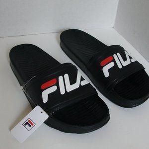 NEW Men's FILA Slides Black with Logo
